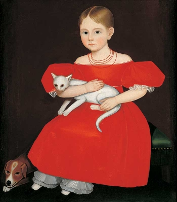 Girl in Red Dress with Cat and Dog thumbnail